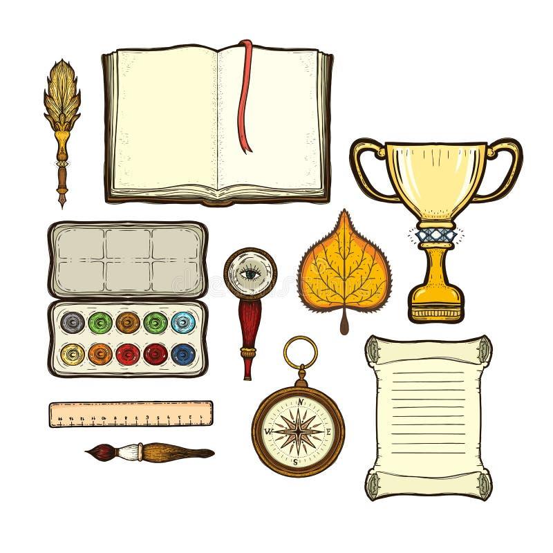 Schoolreeks die op witte achtergrond wordt geïsoleerd royalty-vrije illustratie