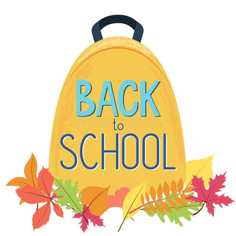 Schoolrugzak in de herfstbladeren Terug naar School stock illustratie
