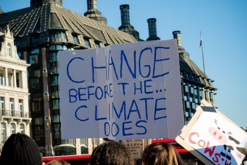 Schoolstaking voor Klimaatverandering stock afbeeldingen