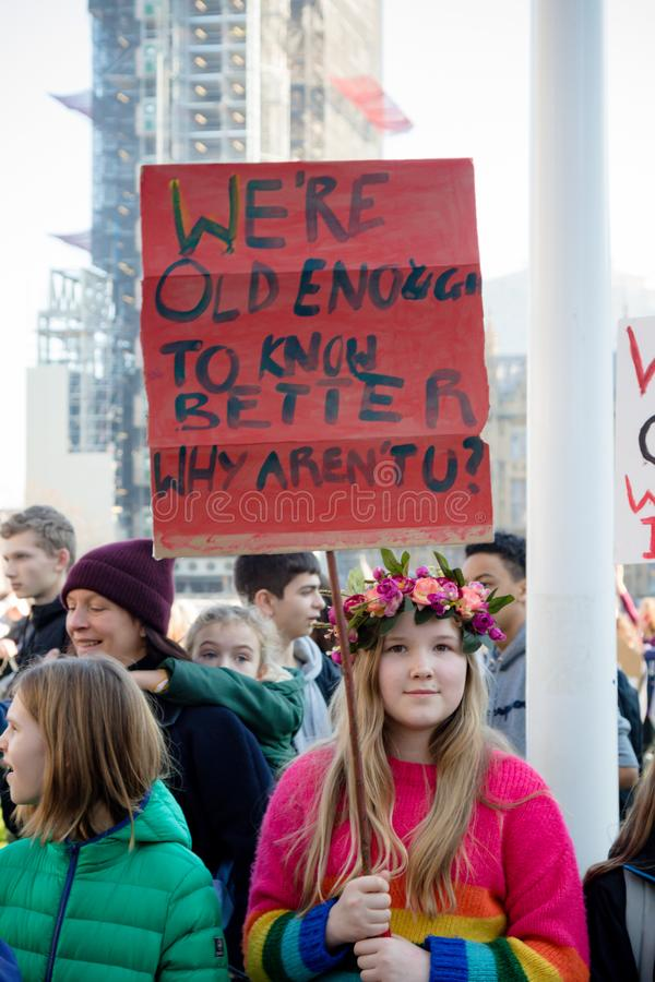 Schoolstaking voor Klimaatverandering royalty-vrije stock afbeelding