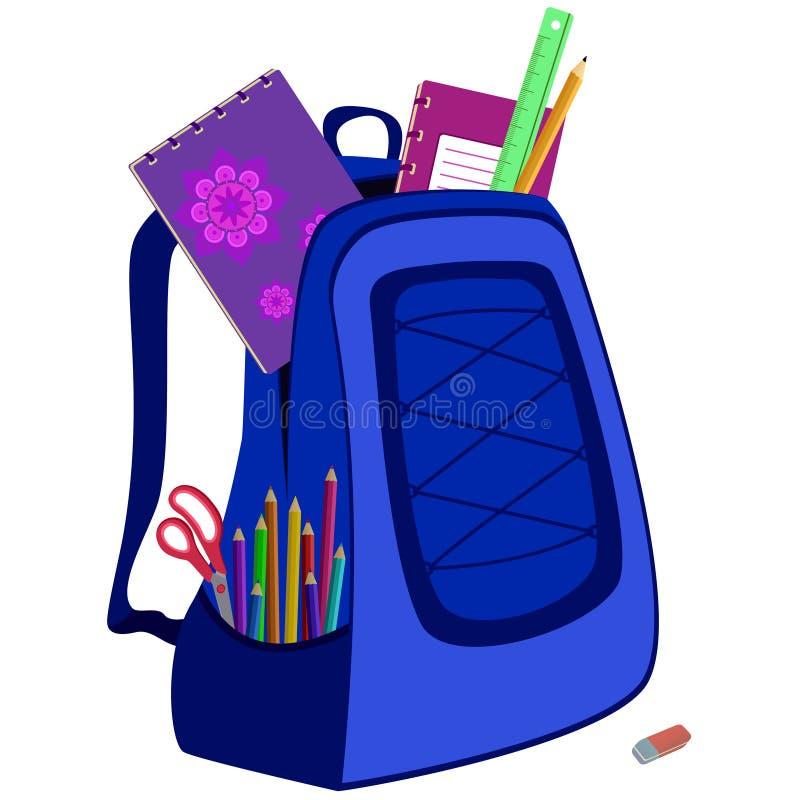 Schooltas met notitieboekje, gom, potloden, heerser royalty-vrije illustratie