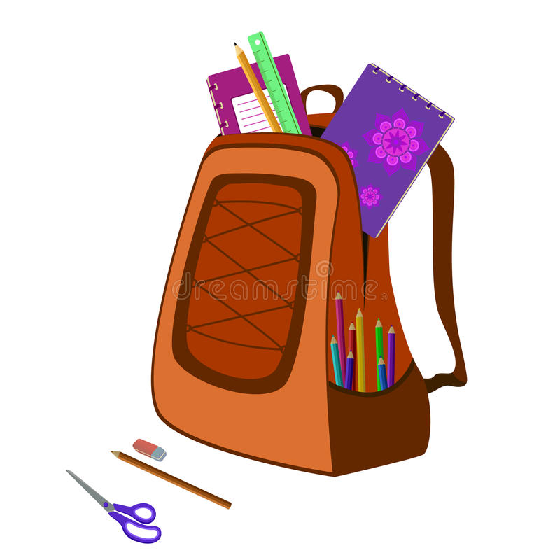 Schooltas met notitieboekje, gom, potloden, heerser, schaar vector illustratie