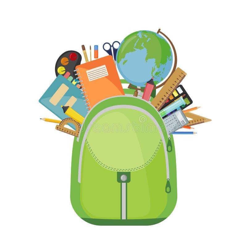 Schooltas met pennen, boeken en potloden stock illustratie