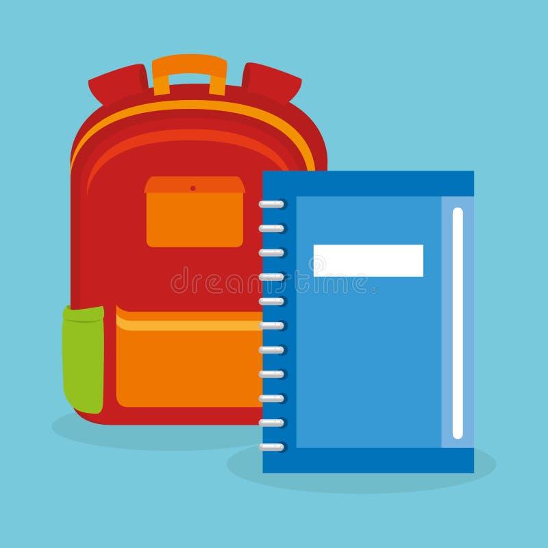 Schooltaslevering met notitieboekje vector illustratie