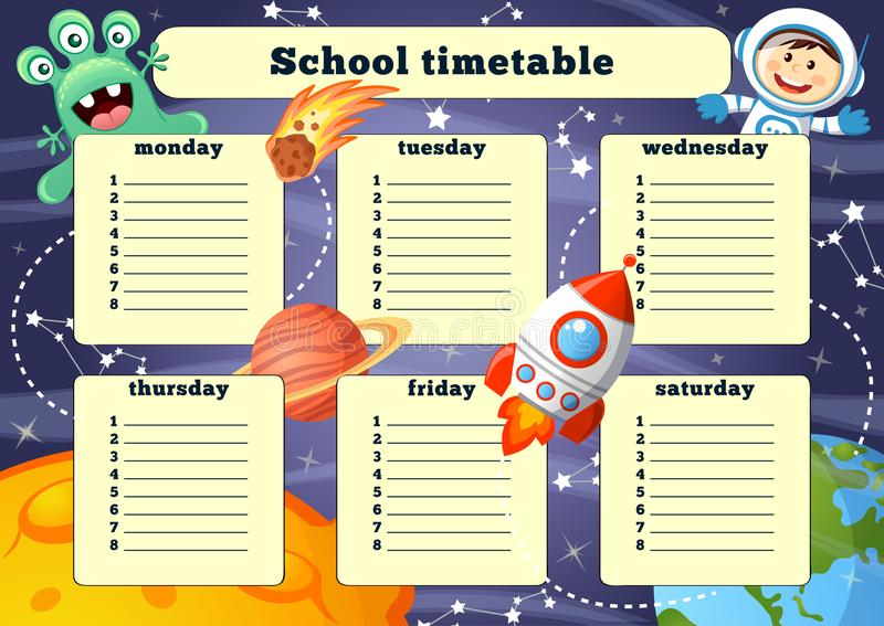 Schooltijdschema met ruimteelementen stock illustratie