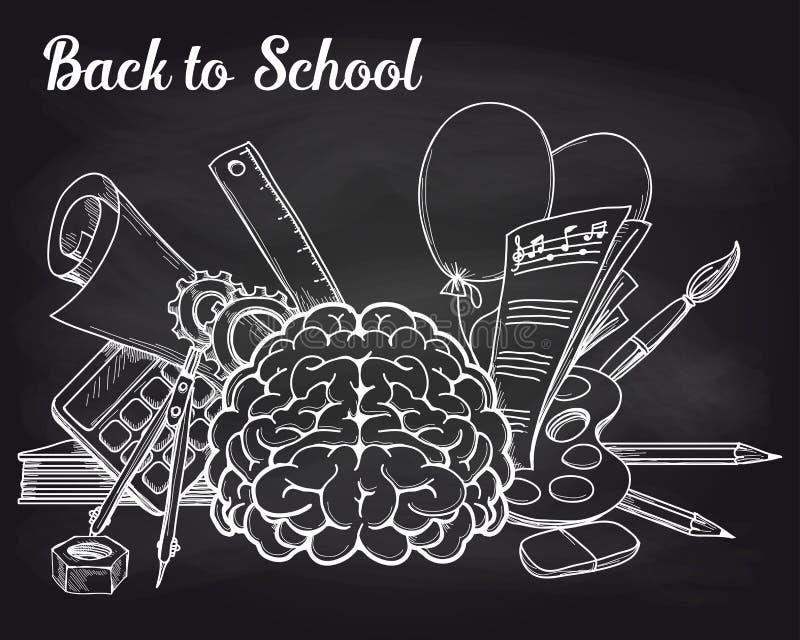 Schoolvoorwerpen op bord royalty-vrije illustratie