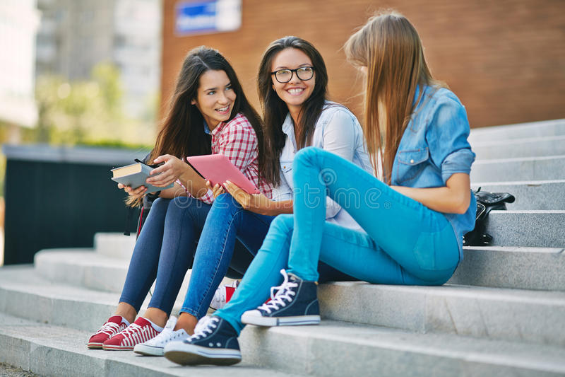 Schoolvrienden royalty-vrije stock foto