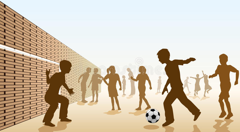 Schoolyard football. Editable illustration of children playing football in a playground