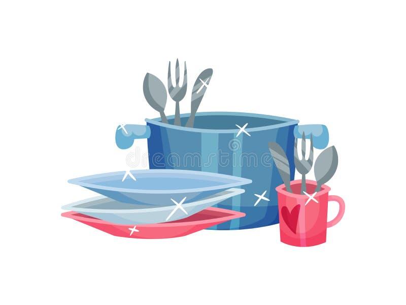 Schoon bestek in de pan en de mok Vector illustratie op witte achtergrond stock illustratie