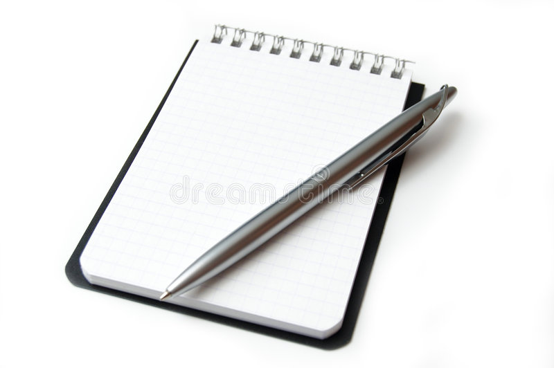 Schoon blad van notitieboekje dat op wit wordt geïsoleerdt. stock foto
