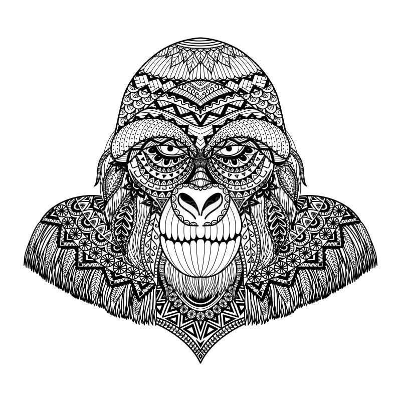 Schoon de kunstontwerp van de lijnenkrabbel van gorilla, voor volwassen kleurend boek, etc. grafische T-shirt - Voorraadvector stock illustratie