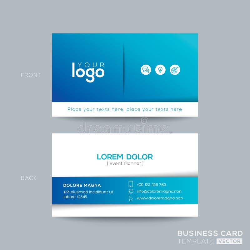 Schoon en eenvoudig blauw adreskaartjeontwerp royalty-vrije illustratie
