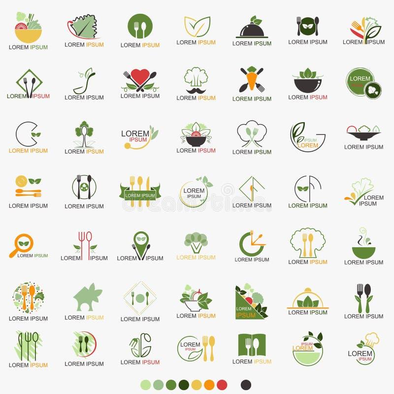 Schoon Voedselrestaurant Gezond Logo Set - Vector stock illustratie