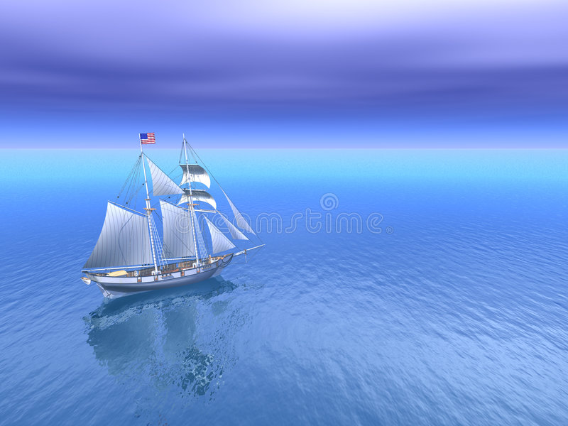 schooner ήλιος θάλασσας απεικόνιση αποθεμάτων