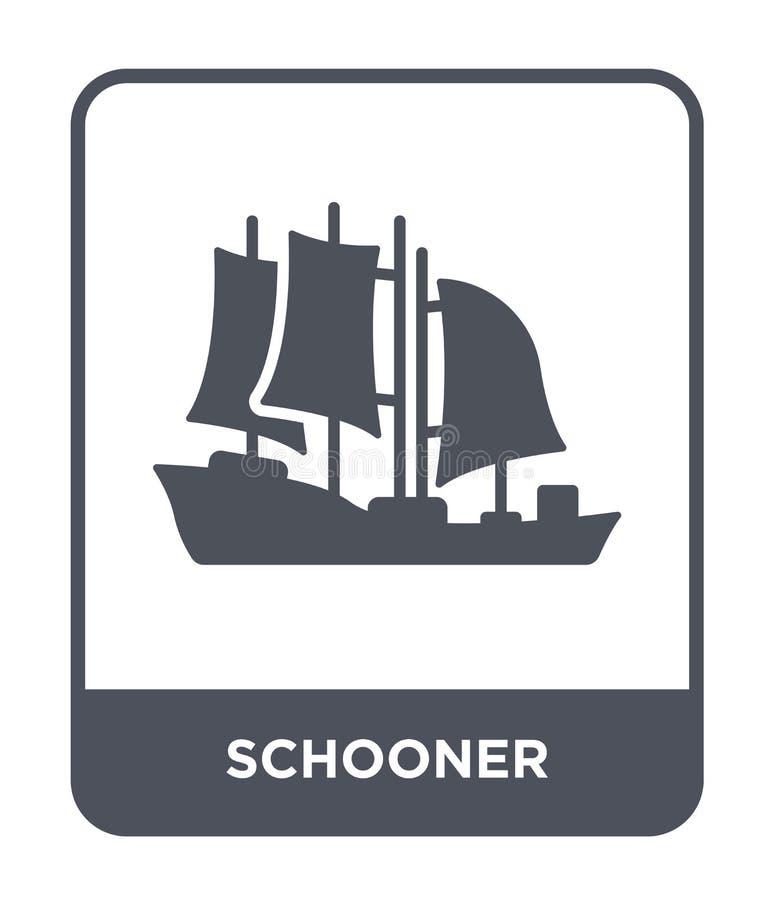 schooner εικονίδιο στο καθιερώνον τη μόδα ύφος σχεδίου schooner εικονίδιο που απομονώνεται στο άσπρο υπόβαθρο schooner διανυσματι απεικόνιση αποθεμάτων