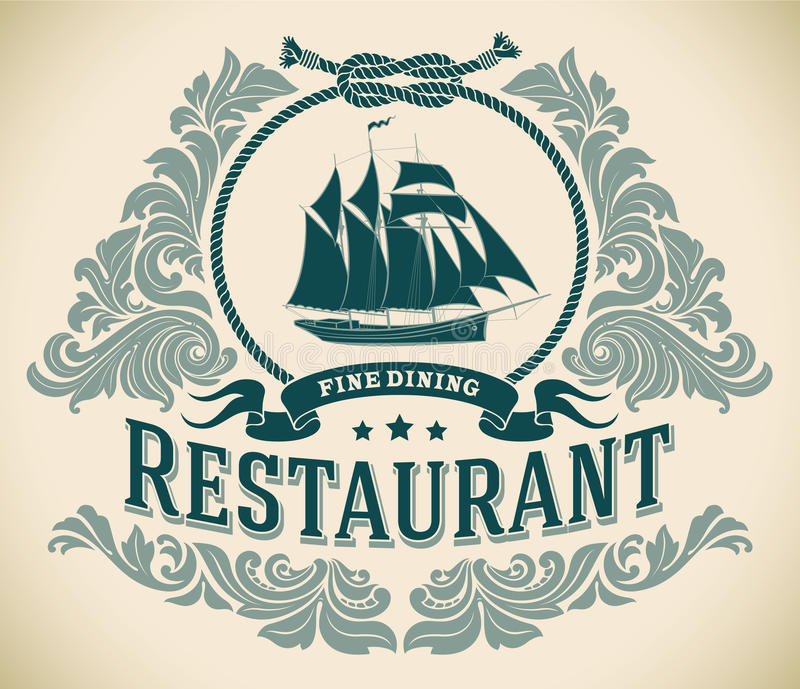 Schooner - fine dining restaurant label. Retro-styled fine dining restaurant label including the image of a sailboat. Editable vector illustration royalty free illustration