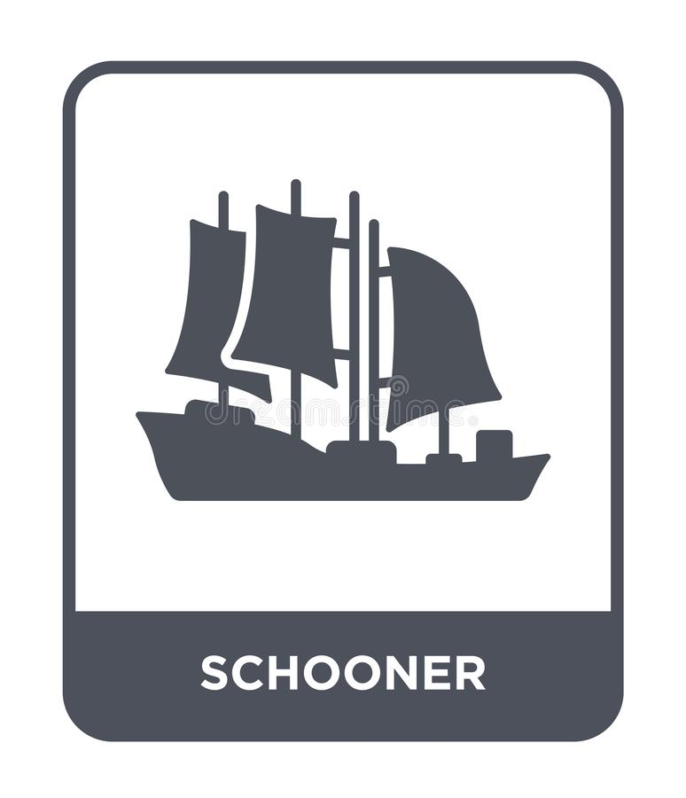 Schooner icon in trendy design style. schooner icon isolated on white background. schooner vector icon simple and modern flat. Symbol for web site, mobile, logo stock illustration