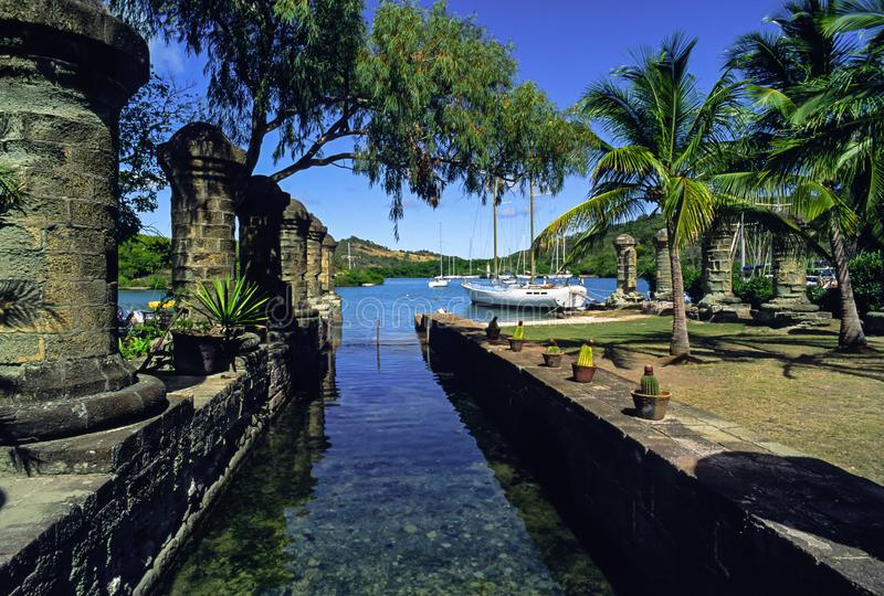 Nelsons Dockyard in English Harbour on Antigua stock images