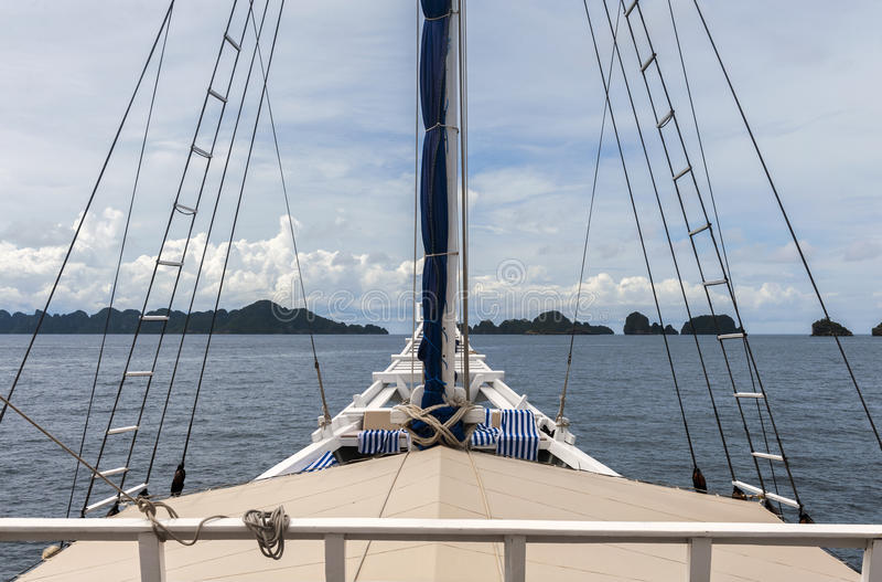 Schooner Travel through Raja Ampat stock photo