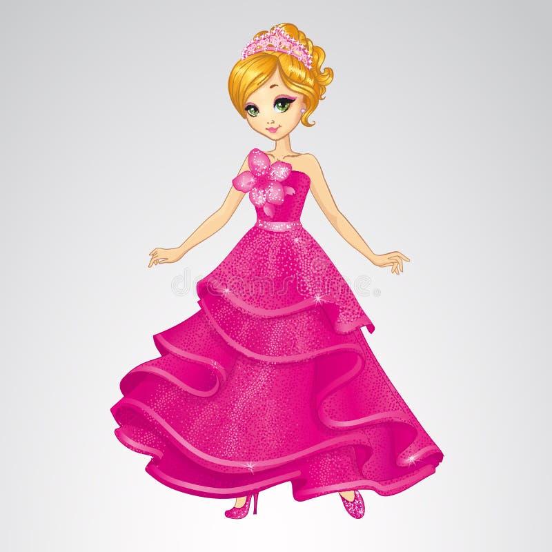Schoonheid Cinderella In Pink Dress royalty-vrije illustratie