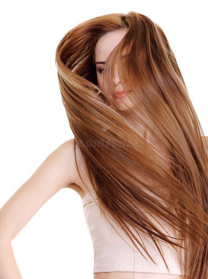 Schoonheid en creatieve rechte lange haren stock fotografie