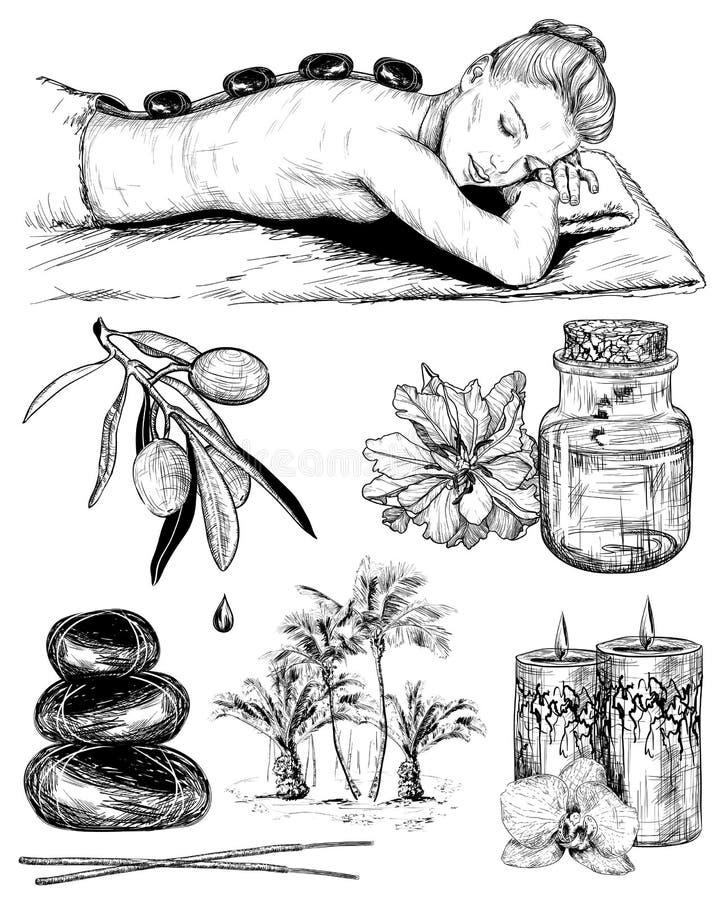 Schoonheid en gezondheidszorg, schetsreeks van tropisch kuuroord vector illustratie