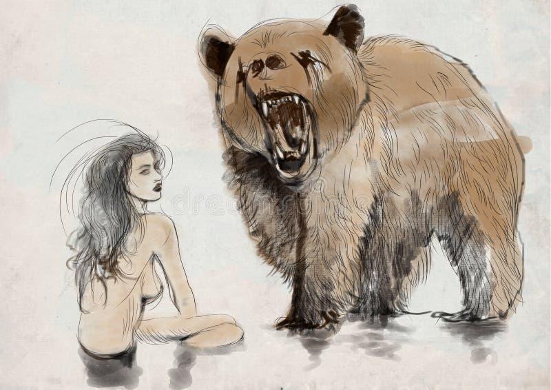 Schoonheid en het dier stock illustratie