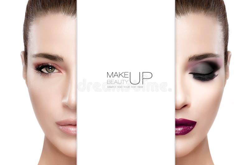 Schoonheid en make-upconcept Twee Halve Gezichten royalty-vrije stock fotografie