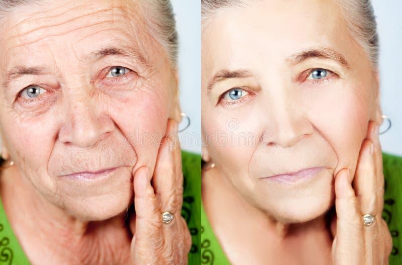 Schoonheid en skincare concept - geen het verouderen rimpels stock foto's