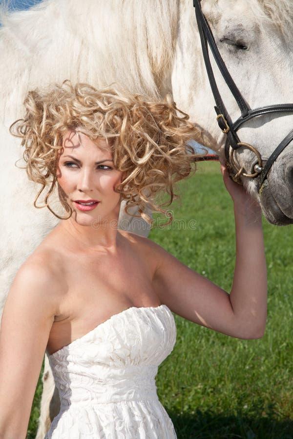 Schoonheid en Wit Paard stock fotografie