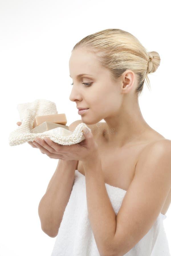 Schoonheid met zeep stock fotografie