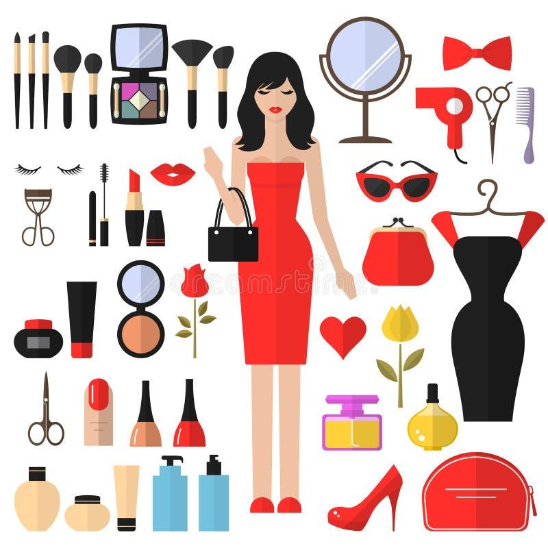 Schoonheid, Schoonheidsmiddelen en Make-up Vector vlakke Pictogrammen vector illustratie