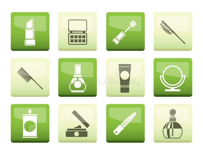 Schoonheid, schoonheidsmiddelen en samenstellingspictogrammen over groene achtergrond stock illustratie