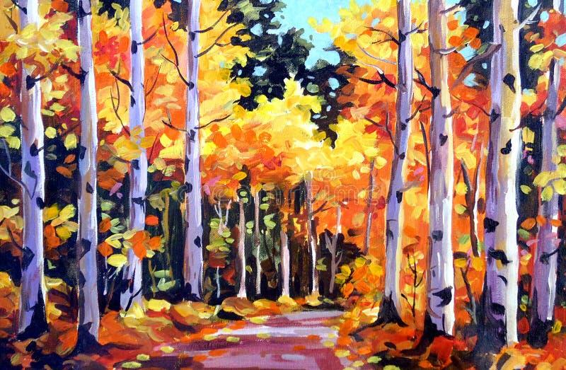 Schoonheid van Autumn Forest - Acryl bij canvas het schilderen stock illustratie