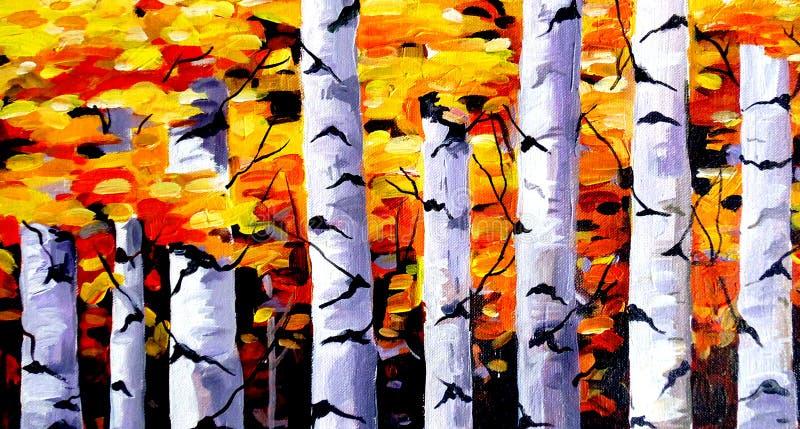Schoonheid van Autumn Forest - Acryl bij canvas het schilderen vector illustratie