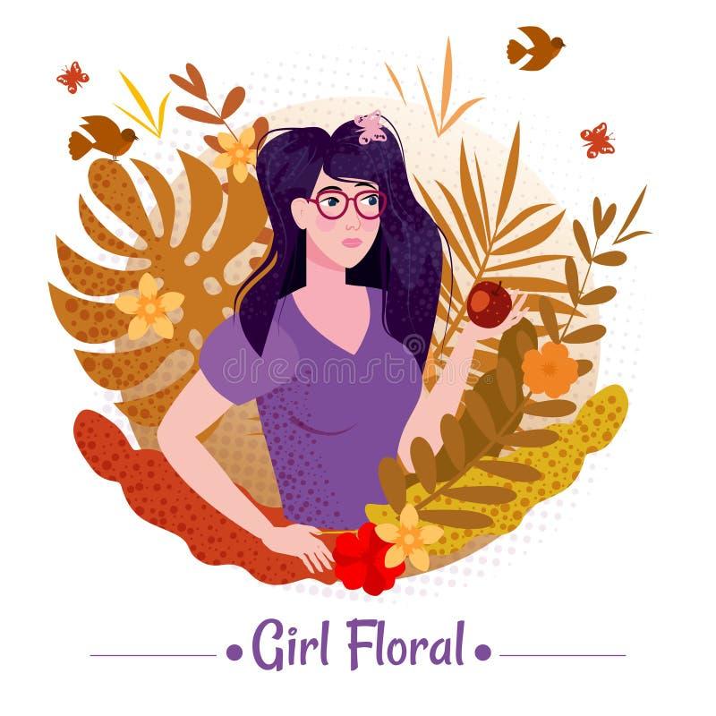 Schoonheid van een meisje met lang romantisch haar met appel tussen de bladeren en bloemen van exotische planten zomer in een T-s vector illustratie
