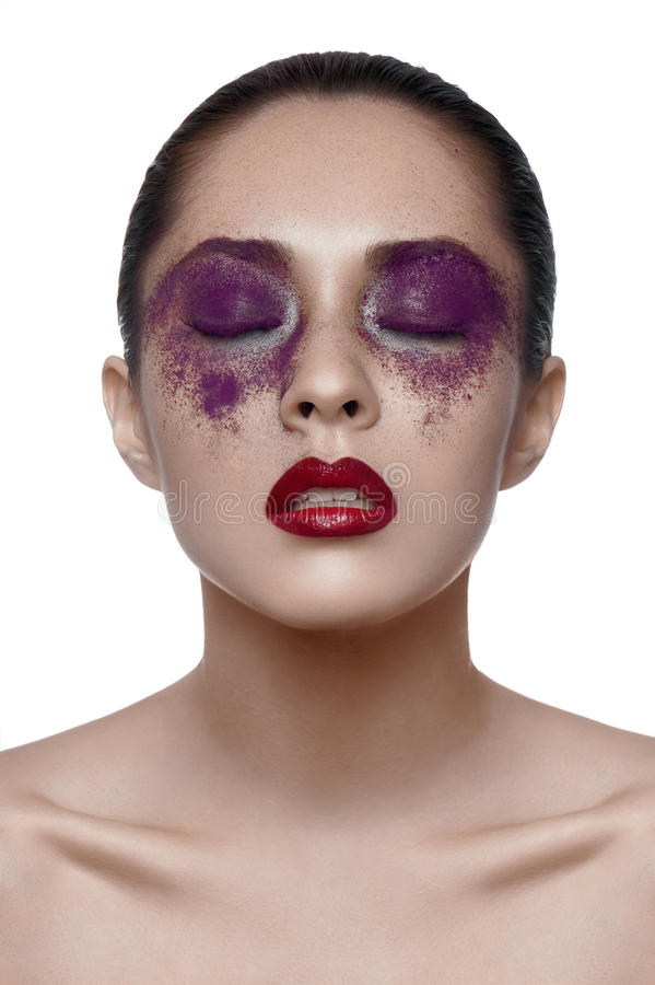 Schoonheids Aziatisch Meisje met purpere Make-up royalty-vrije stock foto's