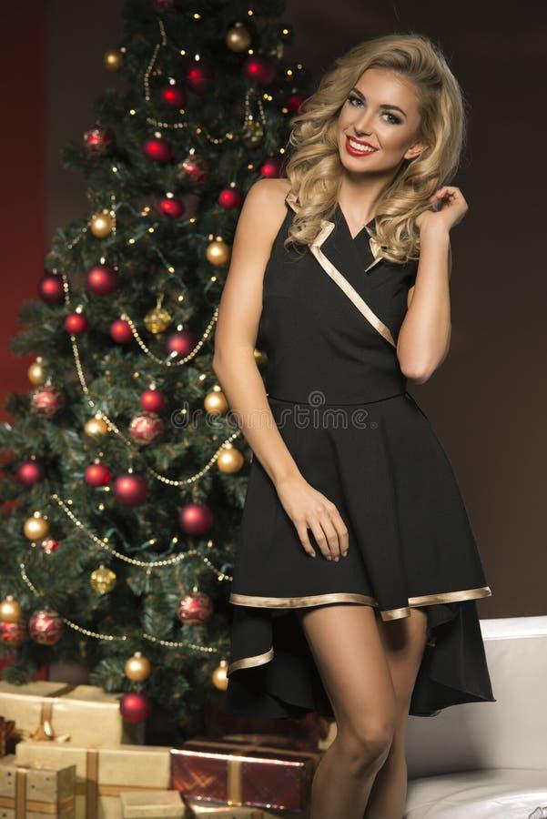 Schoonheids elegante vrouw met aanwezige Kerstmis royalty-vrije stock afbeeldingen