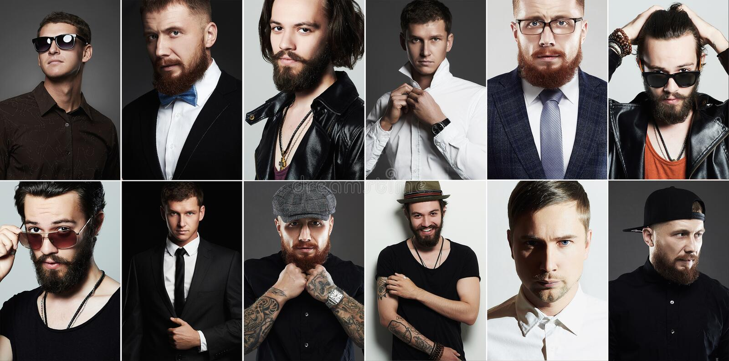 Schoonheidscollage van de echte mens mensen` s gezichten royalty-vrije stock foto's