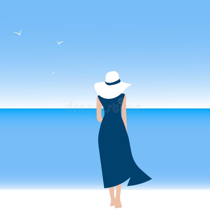 Schoonheidsmeisje die langs het strand lopen Een ontspannen vrouw op het strand vector illustratie
