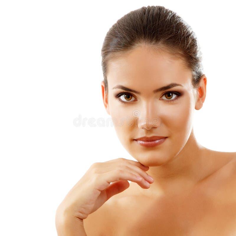 Schoonheidsmeisje, gelukkige jonge natuurlijke mooie vrouw royalty-vrije stock foto's