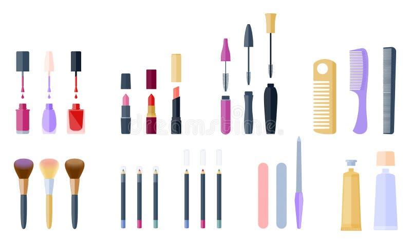 Schoonheidsmiddel en make-up bijkomende reeks Vlakke vectorillustratie vector illustratie