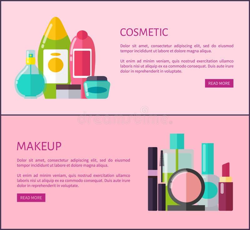 Schoonheidsmiddel en Make-up de Pagina's van Middeleninternet Promo stock illustratie