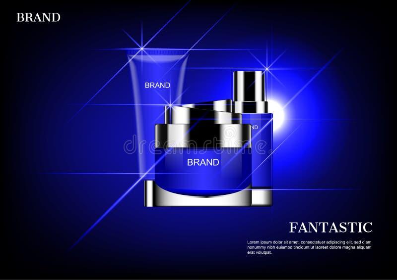 Schoonheidsmiddel met blauwe het glanzen lichten en één schijnwerper wordt geplaatst die royalty-vrije illustratie