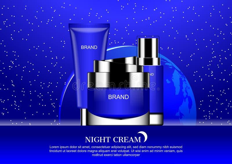 Schoonheidsmiddel op blauwe sterrige nachtachtergrond sommige Elementen van Th wordt geplaatst dat stock illustratie