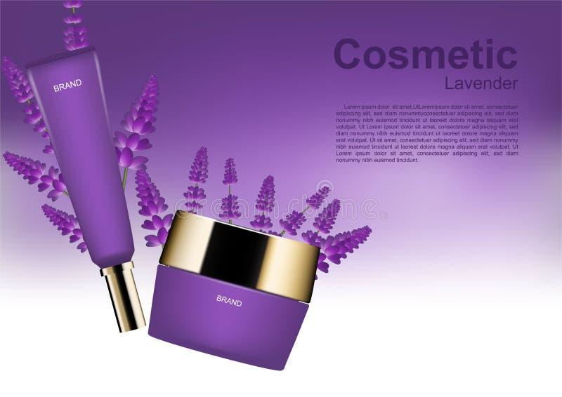 Schoonheidsmiddel van schoonheids het kosmetische die advertenties met lavendel op wit wordt geplaatst en purp vector illustratie