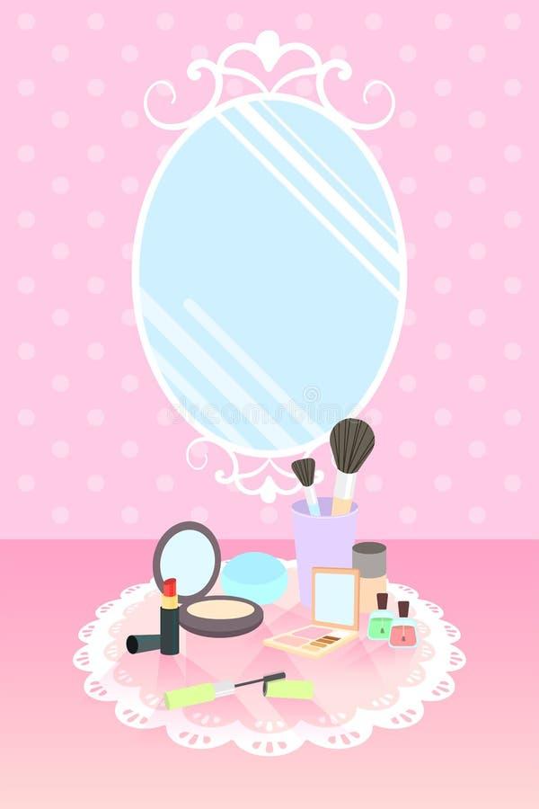 Schoonheidsmiddelen op kantmat en spiegel op roze stipbehang stock afbeelding