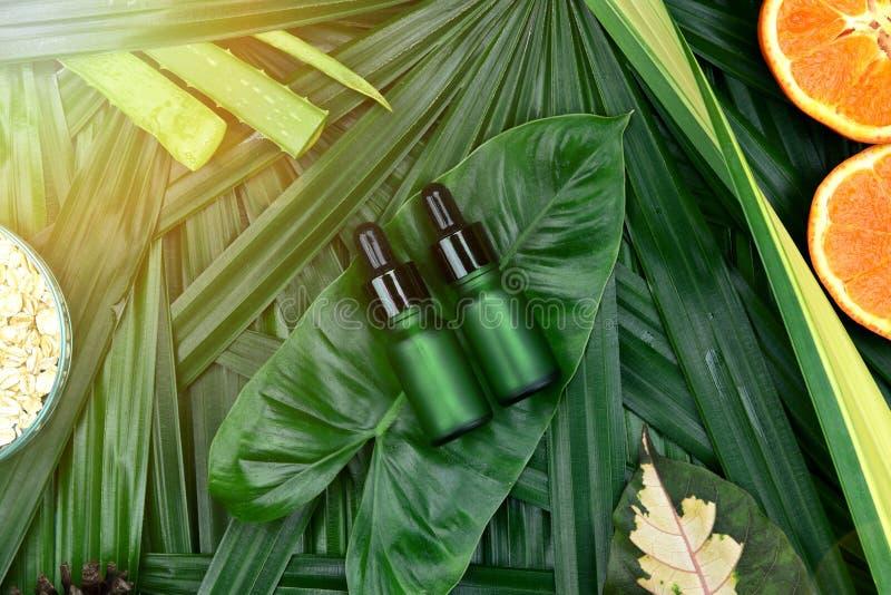 Schoonheidsmiddelen skincare met vitamine Cuittreksel, Kosmetische flessencontainers met verse oranje plakken, Leeg etiket voor h stock fotografie