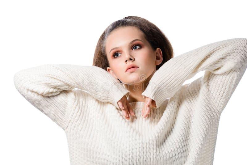 Schoonheidsportret van aantrekkelijke jonge Europese vrouw donkerbruine ISO stock fotografie