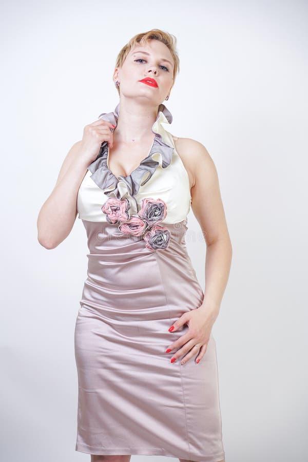 Schoonheidsportret van jong curvyy meisje in de kleding van Midi stock afbeelding